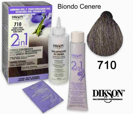 Dikson 2 in 1 crema color 710 biondo cenere