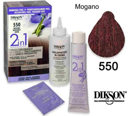 Dikson 2 in 1 crema color 550 mogano