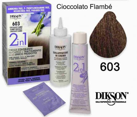 Dikson 2 in 1 crema color 603 cioccolato flambe'