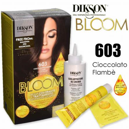 Dikson bloom crema colorante con cheratina 603 cioccolato flambe'